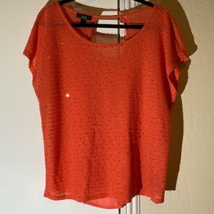 💐AGB Sequin/Chiffon Coral Blouse Size XL